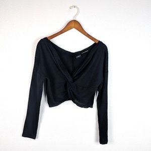 UO Out From Under Black Thermal Crop Top Small NWT